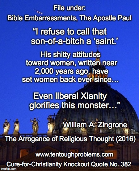 Knockout Quote No 382, Zingrone, I refuse to call that son-of-a-bitch a saint